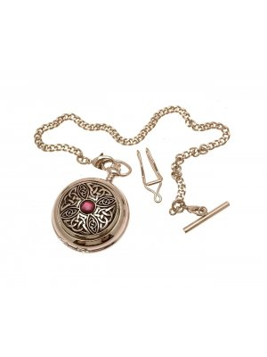 Solid Pewter Fronted Celtic Knot With Stone Design 7 Mother Of Pearl Quartz Pocket Watch