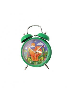 Alarm clock in green with Lion design - battery operated