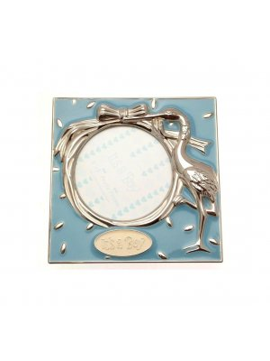 Silver plated photo frame for a boy with blue enamelling and stork design