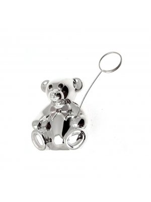 Silver plated Money Box in a teddy design - even comes with a photo stick - ideal Christening gift