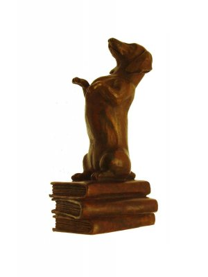 Bronze Sculptures Hand cast bronze Dachshund figurine on books