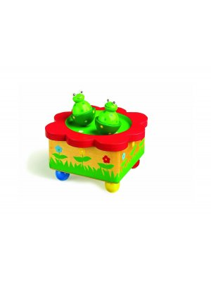 Boxed wooden clockwork frog musical box