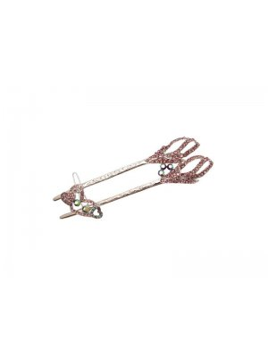 Ladies pink hair accessory - with separate smaller clip - pale pink diamante design