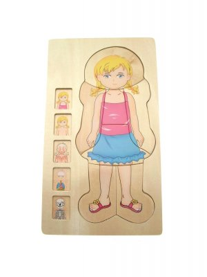Childrens wooden puzzle - anatomy puzzle - girl design - The Body