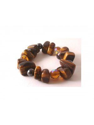 Ladies expandable chunky bead and tigers eye stone bracelet - JW74