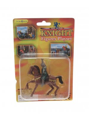Creative play plastic knight playset on horseback brown horse with gold trim