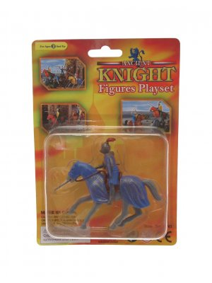 Creative play plastic knight playset on horseback grey horse with blue coat