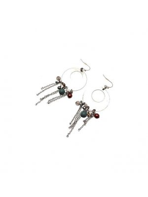Hoop Earrings silver coloured hoop design with coloured beads and dangly chains - GW13