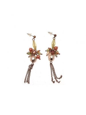 Drop Earrings copper coloured metal design with yellow and red beads - GW14