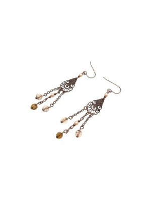 Drop Earrings copper coloured metal design with plastic beads - GW2 - GWX