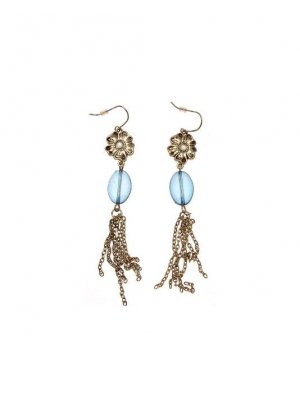 Drop Earrings gold coloured metal chain and floral design with blue bead - GW7