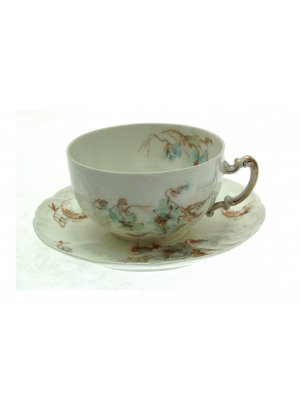 Limoges Stonier Blue Floral pattern Breakfast Cup and Saucer