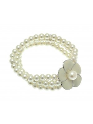 Beaded Bracelet Stretch Bracelets Beaded Jewellery Flower Bracelet Cream LY01