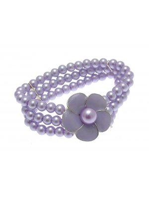 Beaded Bracelet Stretch Bracelets Beaded Jewellery Flower Bracelet Lilac LY02