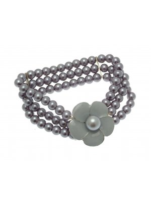 Beaded Bracelet Stretch Bracelets Beaded Jewellery Flower Bracelet Grey Light  LY03
