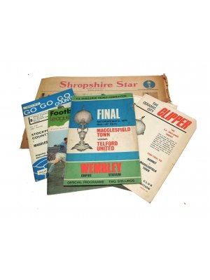 A collection of football memorabilia between the finalists Macclesfield town and Telford united - CLT127