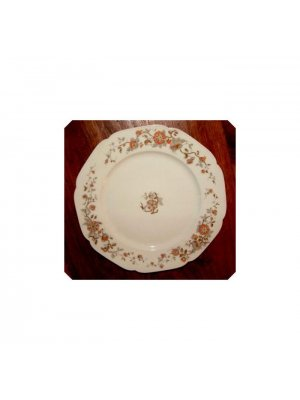 Limoges 10 inch plate white with orange flowers