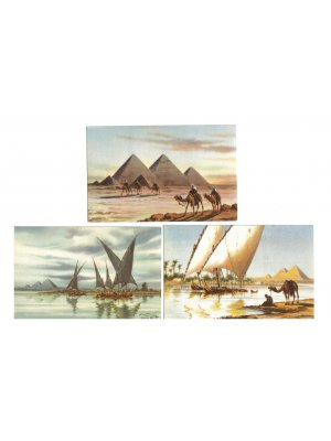 Set of three Egyptian Postcards