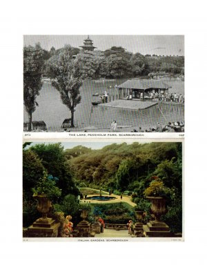 c1949 Pair of Postcards Italian Gardens & The Lake in Scarborough