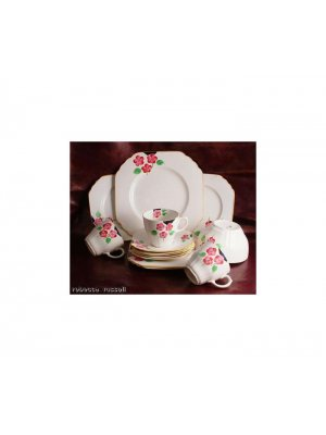 Staffordshire Ivory and hand painted floral 9 inch Cake Plate