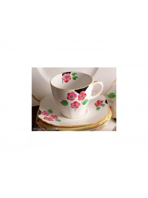Staffordshire Ivory and hand painted floral Cup and Saucer