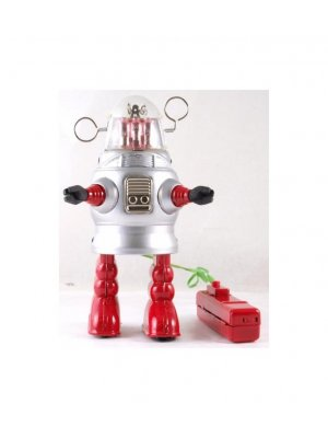 20 cm high Remote Control battery operated tin plate robot - piston action