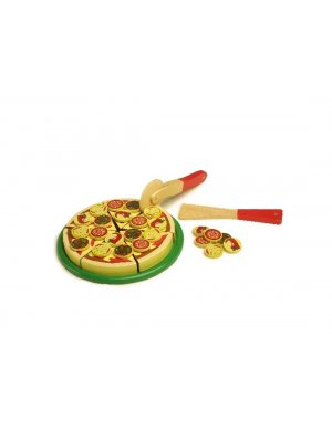 Childrens wooden pizza set with knife - all with velcro fastenings