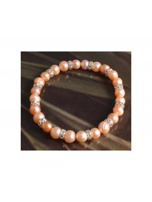 Freshwater pearl with crystal stud bracelet - peach pearl