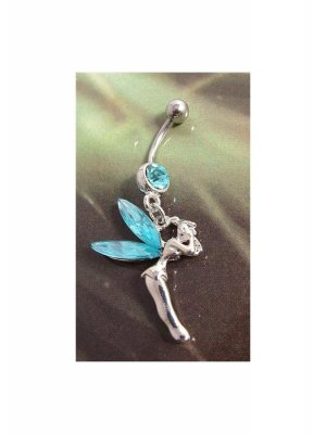Decorative 316L Surgical Steel Navel Bar Tinkerbell or Fairy design - blue in colour