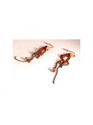 Drop Earrings copper coloured metal design with coloured beads - GW 10