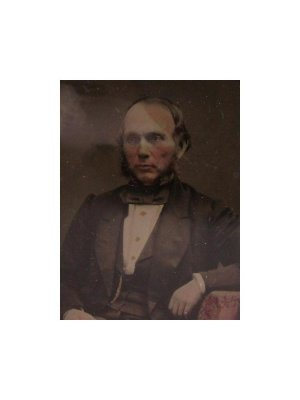c1860 1/9 plate Ambrotype seated Victorian Gentleman with hand tinted face hands buttons and table cloth CLT122