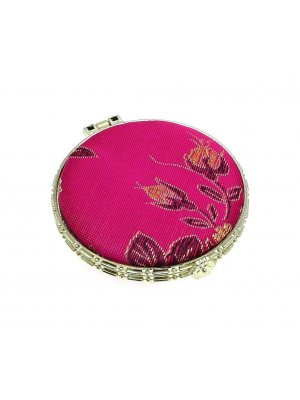Ladies mirror compact - ideal mirror for your handbag - cerise pink silk design 4