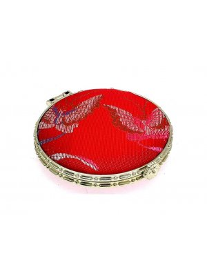 Ladies mirror compact - ideal mirror for your handbag - red silk design 16