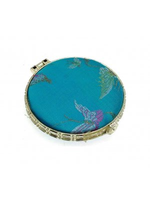 Ladies mirror compact - ideal mirror for your handbag - turquoise silk design 5