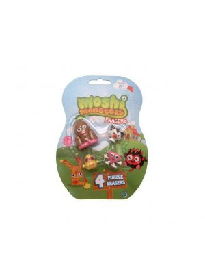 Moshi Monsters rubbers or Moshi Monster erasers puzzle erasers  Furi, White Fang, DJ Quack & Roxy Moshlings