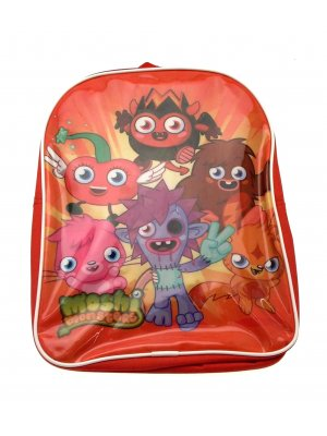 Moshi Monsters backpack in red with Diavolo, Katsuma, Zomer, Poppet, Luvli and Furi design
