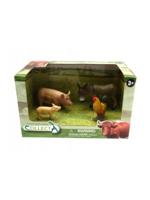 Plastic Toy Animals Plastic Farm animals figures pigs donkey and cockerel