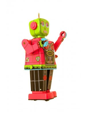 Schylling tin plate girl robot Pink & Green Collectors Item NOT A TOY