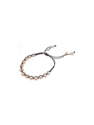 Macrame bracelet with fresh water pearl beads cream design 114229