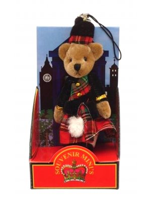 Teddy bear mobile phone charm bag charm Scottish souvenir Tartan Kilt