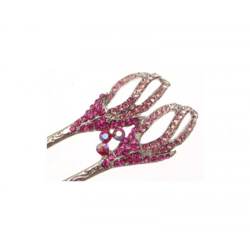 Ladies pink hair accessory - with separate smaller clip - cerise pink diamante design