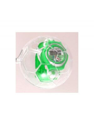 Green plastic football theme watch in football bauble case
