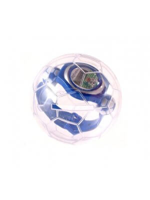 Blue plastic football theme watch in football bauble case