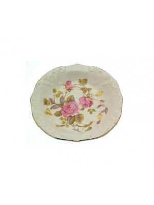 Pretty H Aynsley and Co pin dish - pink flower or rose design with gilt rim - CLT480