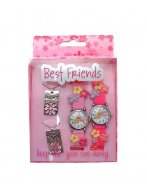 Gift pack twin pack of Best Friends watches and pendants keep one - give one away FLWR1