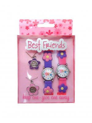Gift pack twin pack of Best Friends watches and pendants keep one - give one away FLWR2