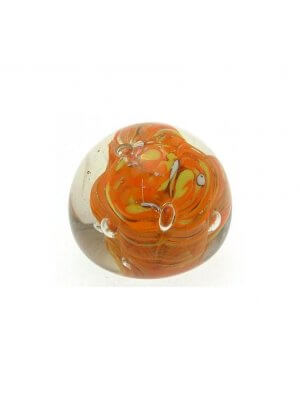 Previously owned small glass paperweight - orange and yellow design - CLT496