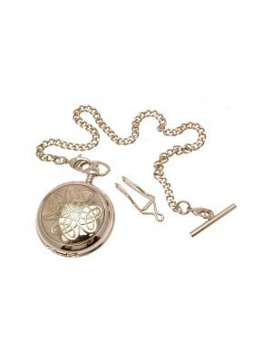 Solid Pewter Fronted Two Tone Entwined Love Knot Design 9 Mother Of Pearl Quartz Pocket Watch