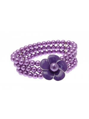 Beaded Bracelet Stretch Bracelets Beaded Jewellery Flower Bracelet Purple LY04