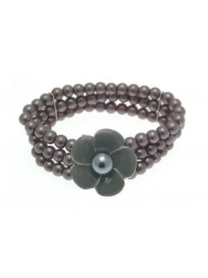 Beaded Bracelet Stretch Bracelets Beaded Jewellery Flower Bracelet Grey Dark LY06